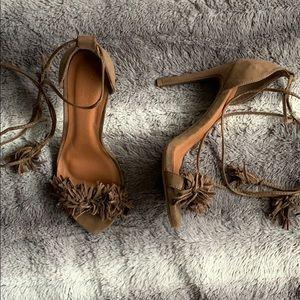 Suede Wrap Around Heels